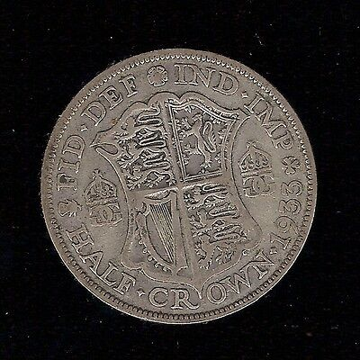 1933 1/2 HALF CROWN GEORGE V 5th COIN .500 SILVER KING 30d 2/6 2s 6d