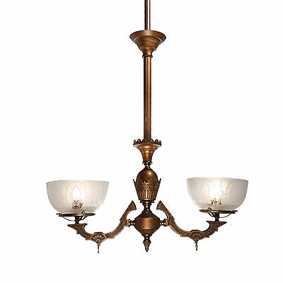 Antique Aesthetic Movement Gas Chandelier with Original Glass Shades, NC2541