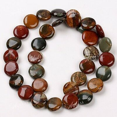 1 Strand Picasso Jasper Flat Round Jewelry Loose Beads