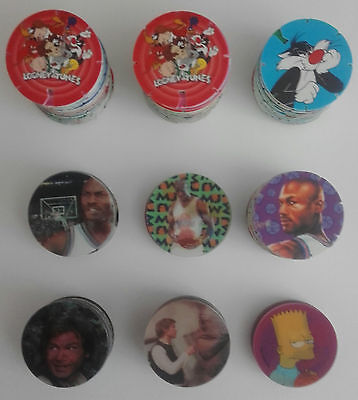 Collection Of Various Tazos, Looney Tunes, Star Wars, Space Jam.