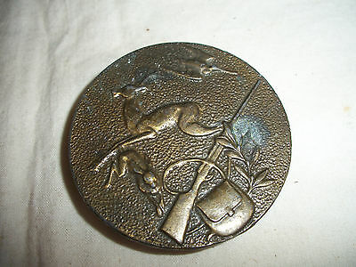 Vintage Brass Hunting Rifle Deer Rabbit Round Belt Buckle