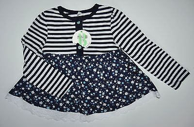 Bhs Baby Girls Navy Floral Top Blouse Tunic Age 12-18 Months Eur 86Cm Cotton