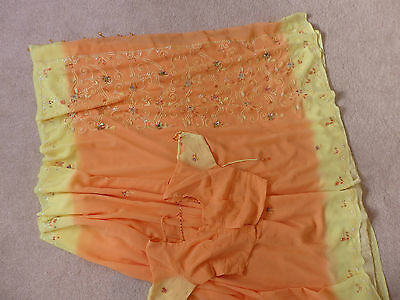 New Orange and Yellow Embroider Saree  with Blouse size 10