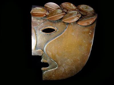 Extremely Rare Vintage Copper Wall Plaque-Art Theatrical Mask!!!