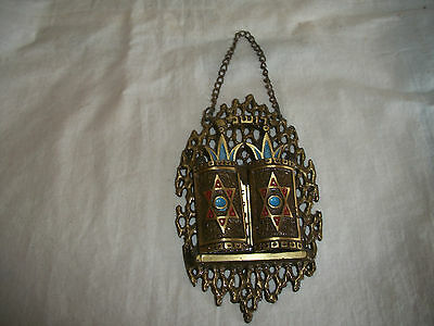 Vintage Hen Holon Judaica 10 Commandments Brass Wall Hanging Made In Israel