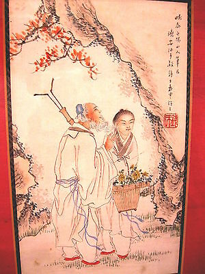 Antique Handmade Chinese watercolor painting framed art