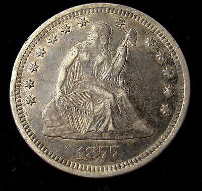 1877 S Seated Liberty Quarter - Xf+ Details #16142