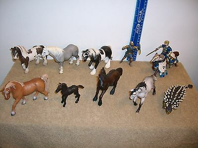 Schleich Horse Lot With Dinosaur & Papo Knight On Horse