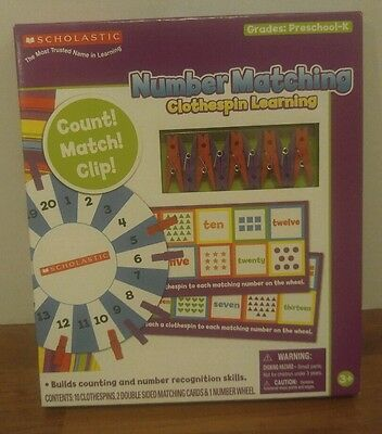 Scholastic Gift Toy, Number Matching Game Preschoolers. Count, Match, Clip!