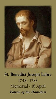 St Benedict Joseph Labre Memorial Holy Card  (wallet size)