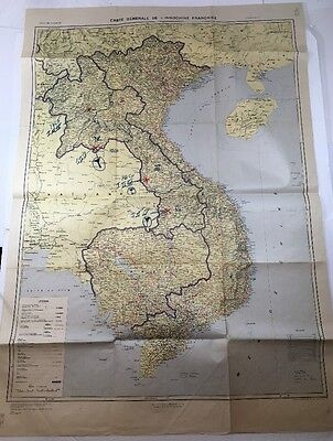 """Vintage 1961 Vietnam Indochina Map (French) US Army Map Service 39"""" X 28"""" Rare!"""