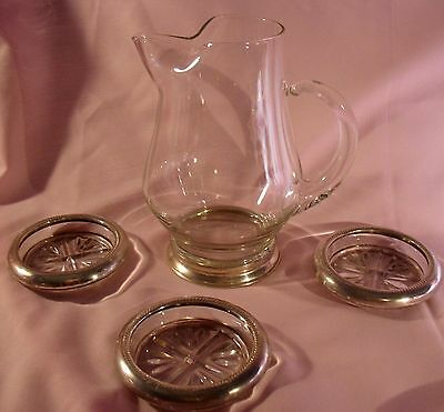 Vintage Mini Glass Pitcher W/a Sterling Base & 3 Glass Coasters W/sterling Rims