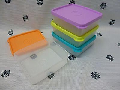 Tupperware Snack On The Go Set of 4 Square Container Lilac Blue Lime Orange New