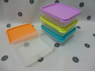 Tupperware Snack On The Go Set of 4 Square Lilac Blue Lime Orange New