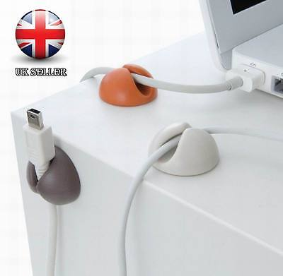 6 PCS Cable Clips Organiser Desk Tidy USB CHARGER CABLES Holder Wire Drop Lead