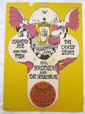 Vintage 60's Janis Joplin Country Concert Joe Hand Bill Poster Post Card