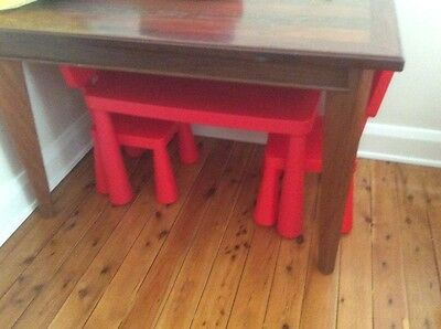 Red ikea original table and chairs x2