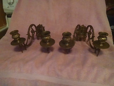Vintage French Antique Brass wall sconce - pair