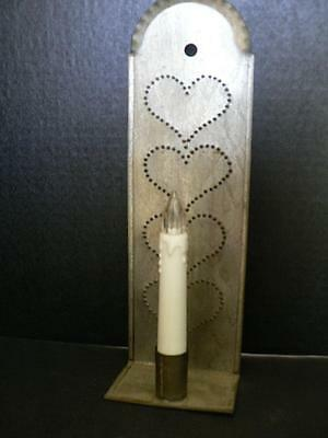Pennsylvania Punched Tin Heart Candle Wall Holder Sconce