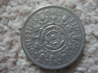 Queen Elizabeth Two Shilling Coin Dated 1965.