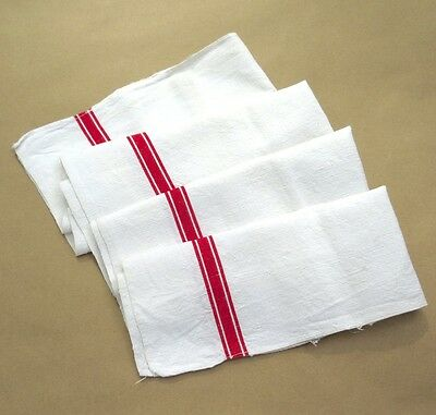 Vintage French DishCloth Towel,Woven Red Stripes, Linen Cotton