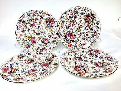 Set of 4 Hammersley & Co England Hand Colored Dessert Plate Signed F.Howard