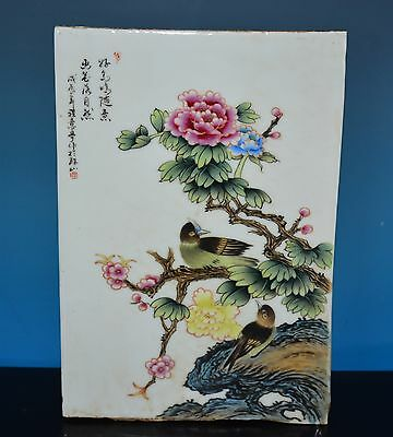 Fine Antique Chinese Famille Rose Porcelain Plaque Marked Cheng Yiting H3953
