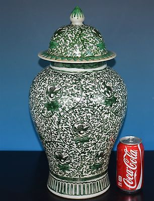 Stunning Large Antique Chinese Polychrome Porcelain Vase Marked Kangxi R0566