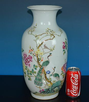 Magnificent Antique Chinese Famille Rose Porcelain Vase Marked Jiaqing Rare H695