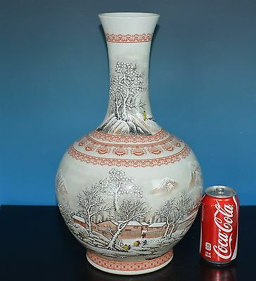 Delicate Large Antique Chinese Famille Rose Porcelain Vase Marked He Xuren C8234