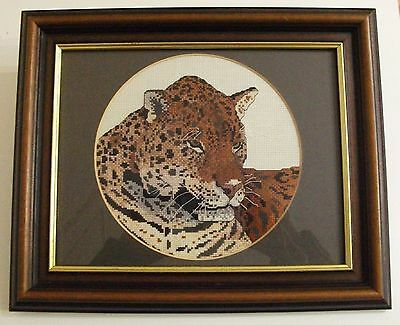 Beautiful Completed Counted Cross Stitch Jaguar Picture Framed Cat