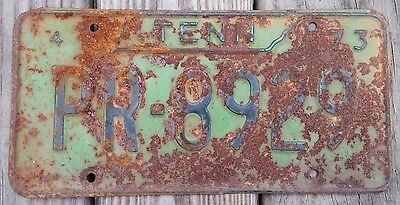 Vintage 1973 TENNESSEE License PLATE Plate#PR-8929 Interstate Sign Green