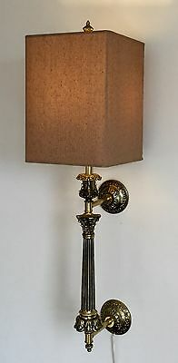 Vintage Ornate Hollywood Regency Brass Electric Wall Lamp Sconce Custom Shade A+
