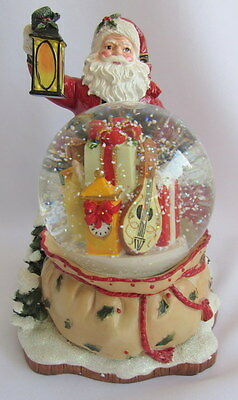 Fitz & Floyd Yuletide Tradition Here Comes Santa Claus Musical Snow Water Globe