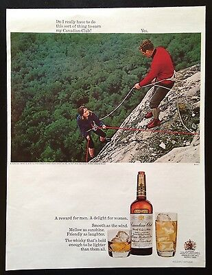1967 Canadian Club Whisky rock climbers 1 bottle 2 glass vintage print ad