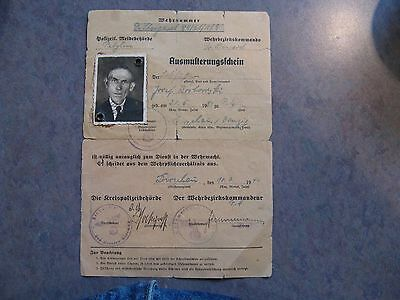 Ausmusterungsschein 1944 German Militery Exempt Documnet from Miliatry Service