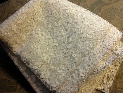 """1960's Lovely White Guipure Rich Floral Motif 3 yards long 36"""" wide"""