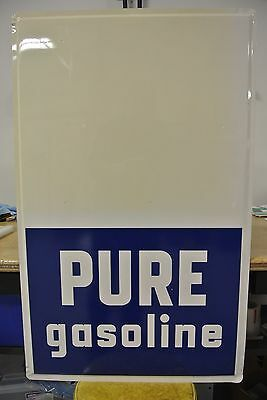 New Old Stock Pure Oil Gasoline Pricer Tin Sign Not Porcelain No Reserve!!