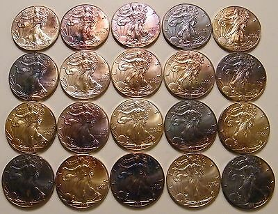 1 Roll of 20 - 2016 Toned Uncirculated American Silver Eagle Dollar US Coins