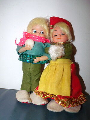 Two Vintage Blonde  Elf Children With Connecting Arms= Marked Japan