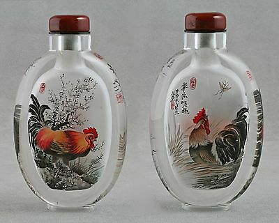 Crystal Snuff bottle inside painted Roosters