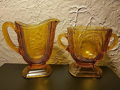 Vintage Amber Glass Cream and Sugar Set