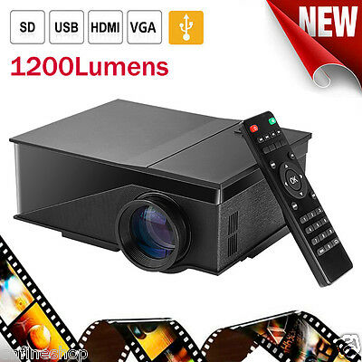 Home Cinema Theater Mini 1200 Lumens LED LCD Projector 1080P HDMI USB AV VGA Lot