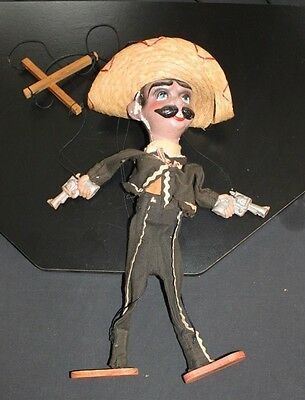 Vintage 1960's Mexican Marionette Spanish Bandit with guns sombrero bandito