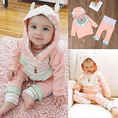 Toddler Kids Baby Girl Outfits Clothes T-shirt Tops Dress+Long Pants 2PCS 18-24M
