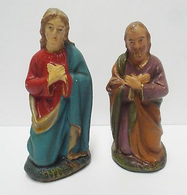 "Vintage 4"" Germany Nativity Mary & Joseph Composition Paper Mache Figurines"