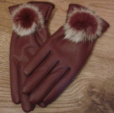 NEW BURGANDY WINE FAUX LEATHER WARM LINED GLOVES - SIZE Medium