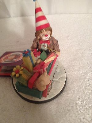 "4 1/2"" Tall Little Emmett Kelly Clown With Wagon & Hang Tag"
