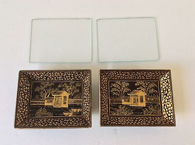 Vtg Burma? Blk Lacquer Set 2 Wood Hand Painted Gold Trays Boxes & Glass Lids
