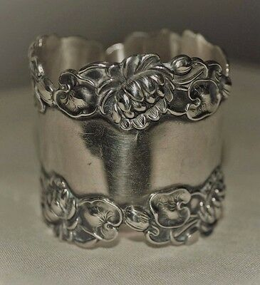 Heavy Art Nouveau Waterlily Blossoms and  Pads Sterling Silver Napkin Ring